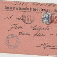 Sellos: SEVILLA - VILLANUEVA DE LAS MINAS CENSURA MILITAR .RMTE CIA FERROCARILES . SOBRE DE CARTA E. ESPAÑOL. Lote 175918647