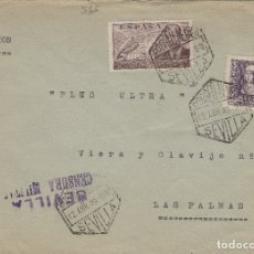 Sellos: SEVILLA - CENSURA MILITAR - CORREO AÉREO SOBRE DE CARTA E. ESPAÑOL. Lote 175918853