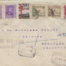 Sellos: VALLADOLID - CENSURA MILITAR. CERTIFICADO FRANQUEO INTERESANTE . SOBRE DE CARTA E.ESPAÑOL. Lote 175926070
