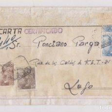 Sellos: RARO SOBRE CERTIFICADO DE TELA. BARCELONA A LUGO. 10 PTS. EN CARTA. 1948. Lote 176982627