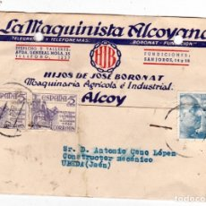 Sellos: LA MAQUINISTA ALCOYANA DE ALCOY ALICANTE A UBEDA JAEN SELLO FISCAL AL DORSO. Lote 177333308