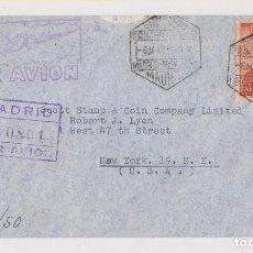 Sellos: SOBRE CERTIFICADO. PRIMER VUELO MADRID NEW YORK. 1946. CORREO AÉREO. Lote 177425975