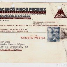 Sellos: TARJETA POSTAL PUBLICITARIA CIRCULADA BARCELONA A UBEDA JAÉN. Lote 178250250