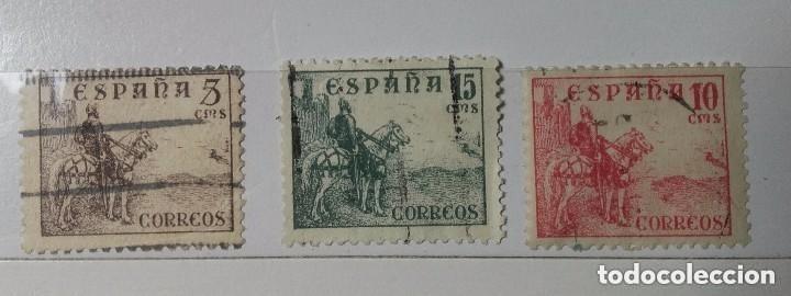 ESPAÑA 1937, TRES SELLOS SERIE EL CID USADOS (Sellos - España - Estado Español - De 1.936 a 1.949 - Usados)