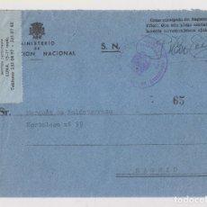 Sellos: SOBRE DEL MINISTERIO DE EDUCACIÓN. FRANQUICIA Y ETIQUETA MENSAJERO. Lote 178818660