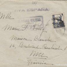 Sellos: GUIPUZCOA - IRUN Y ZAMORA DOBLE CENSURA MILITAR - - SOBRE DE CARTA E. ESPAÑOL. Lote 178925772