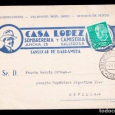 Sellos: *** TARJETA SANLÚCAR DE BARRAMEDA-SEVILLA 1972. CASA LOPEZ, SOMBRERERÍA Y CAMISERÍA (SANLÚCAR) ***. Lote 179008275