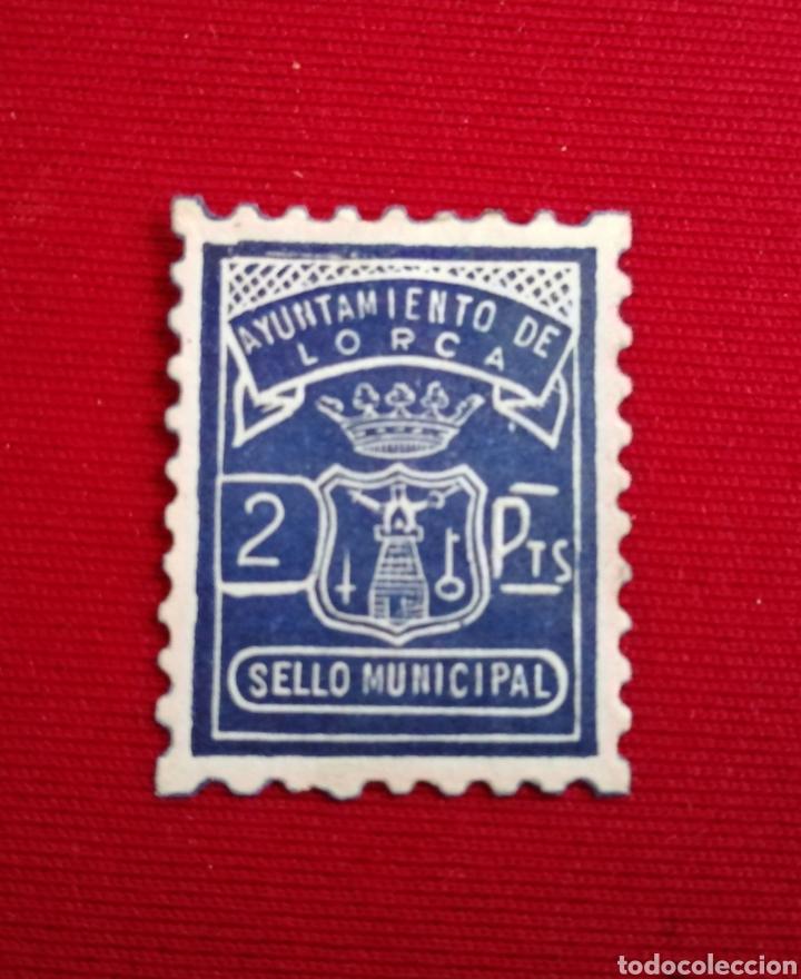 LORCA. MURCIA. AYUNTAMIENTO. SELLO MUNICIPAL. 2 PTAS. (Sellos - España - Estado Español - De 1.936 a 1.949 - Usados)