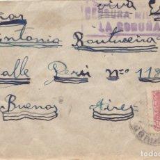 Sellos: SOBRE CON CENSURA MILITAR DE LA CORUÑA. MATASELLO DE LLEGADA: BUENOS AIRES. Lote 181758517