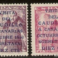 Sellos: EDIFIL 1083A/1083B* MH VISITA CAUDILLO CANARIAS SERIE COMPLETA 1950 NL1484. Lote 181782905