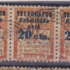Sellos: CC3- AYUNTAMIENTO BARCELONA TELËGRAFOS EDIFIL 5 . TIRA DE 5 USADOS + 30 EUROS . Lote 182566767