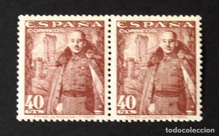 1027A, DOS SELLOS NUEVOS, SIN CH., COLOR CASTAÑO OSCURO, EN PAREJA. MOTA. (Sellos - España - Estado Español - De 1.936 a 1.949 - Nuevos)