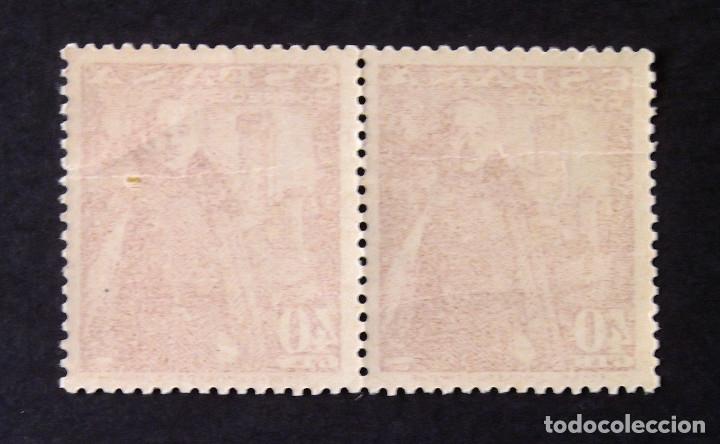Sellos: 1027A, DOS SELLOS NUEVOS, SIN CH., COLOR CASTAÑO OSCURO, EN PAREJA. MOTA. - Foto 2 - 183080755