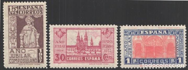 ESPAÑA, 1937 EDIFIL Nº 833 / 835 /**/, AÑO JUBILAR COMPOSTELANO, BIEN CENTRADOS, SIN FIJASELLOS (Sellos - España - Estado Español - De 1.936 a 1.949 - Nuevos)