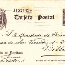 Sellos: TARJETA POSTAL: 1940 SAN SEBASTIAN - BILBAO. Lote 183299725