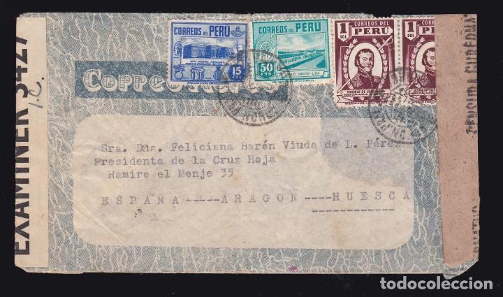 *** CARTA CAJAMARCA (PERÚ)-HUESCA 1942. VÍA NEW YORK CON LLEGADA AL DORSO *** (Sellos - España - Estado Español - De 1.936 a 1.949 - Cartas)