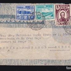 Sellos: *** CARTA CAJAMARCA (PERÚ)-HUESCA 1942. VÍA NEW YORK CON LLEGADA AL DORSO ***. Lote 183388753
