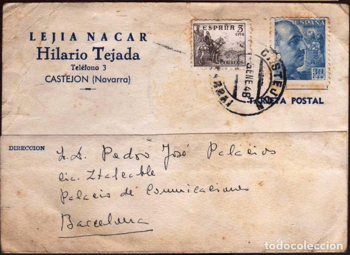 GIROEXLIBRIS.- SPAIN.- TARJETA COMERCIAL DE LAJIA NACAR CIRCULADA DE CASTEJÓN (NAVARRA) A BARCELONA (Sellos - España - Estado Español - De 1.936 a 1.949 - Cartas)