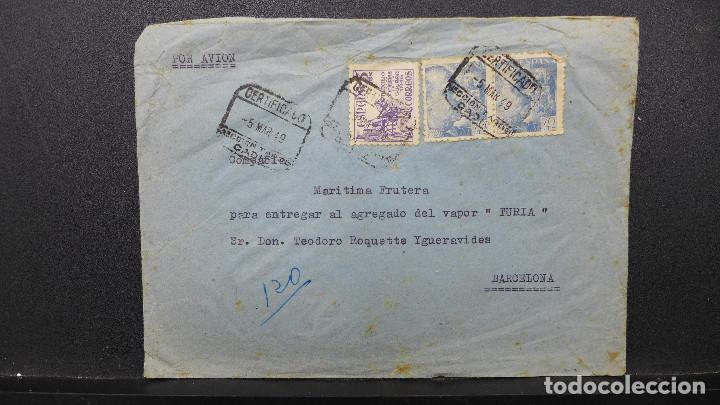 CARTA CADIZ A BARCELONA POR AVION CON 2 SELLOS DE 70 CTS Y OTRO DE 5 CTS AÑO 1949 VAPOR TURIA (Sellos - España - Estado Español - De 1.936 a 1.949 - Cartas)