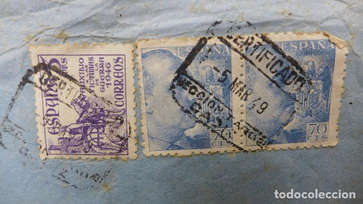 Sellos: CARTA CADIZ A BARCELONA POR AVION CON 2 SELLOS DE 70 CTS Y OTRO DE 5 CTS AÑO 1949 VAPOR TURIA - Foto 3 - 183596205