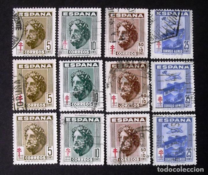 1040-3, TRES SERIES USADAS. TUBERCULOSOS. (Sellos - España - Estado Español - De 1.936 a 1.949 - Usados)