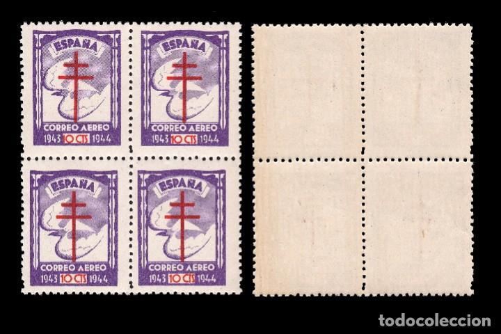 Sellos: 1943.Pro Tuberculosos.Serie Nuevo**.MNH.Bloque 4.Edifil.970-973 - Foto 5 - 184132916
