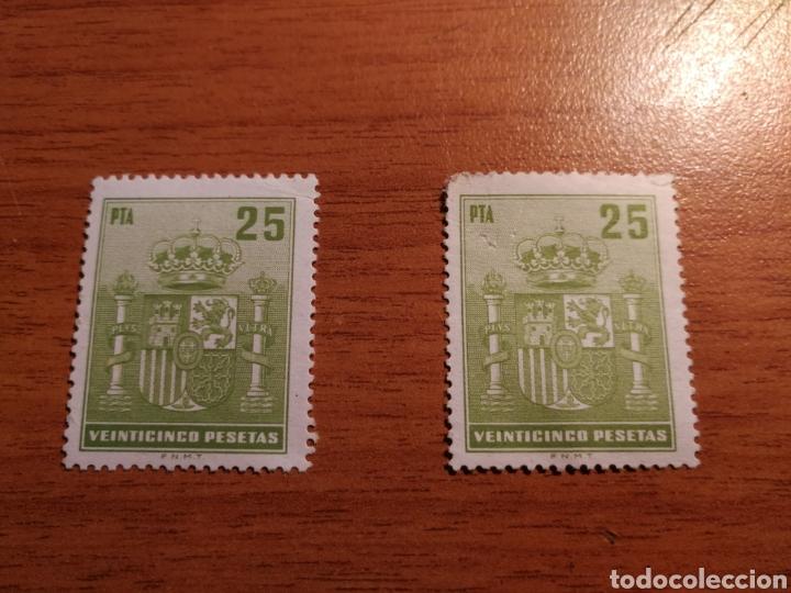 LOTE 2 SELLOS FISCALES DE 25 PESETAS (Sellos - España - Estado Español - De 1.936 a 1.949 - Nuevos)