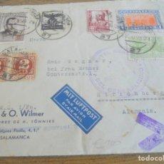 Sellos: CARTA SALAMANCA A ALEMANIA, H.& O. WILMER 1938 CENSURA MILITAR, CUARTEL GENERALÍSIMO. GUERRA CIVIL. Lote 186088285