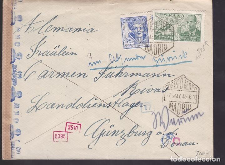 F6-21- CARTA MADRID - ALEMANIA 1943. REEXPEDIDA. CENSURAS ESPAÑOLA Y FAJA OKW ALEMANA (Sellos - España - Estado Español - De 1.936 a 1.949 - Cartas)