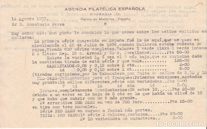 Sellos: F6-22- Carta PALMA MALLORCA.1937. . Agencia Filatélica Española. Interesante texto sellos Locales - Foto 2 - 186370795