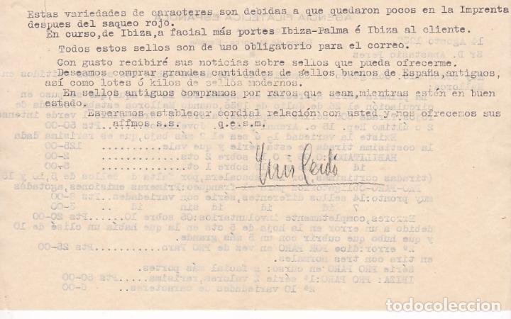 Sellos: F6-22- Carta PALMA MALLORCA.1937. . Agencia Filatélica Española. Interesante texto sellos Locales - Foto 3 - 186370795