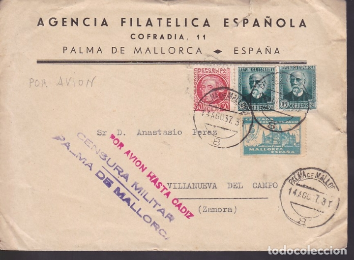 F6-22- CARTA PALMA MALLORCA.1937. . AGENCIA FILATÉLICA ESPAÑOLA. INTERESANTE TEXTO SELLOS LOCALES (Sellos - España - Estado Español - De 1.936 a 1.949 - Cartas)