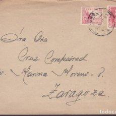 Sellos: F6-22- CARTA BURGOS- ZARAGOZA 1941. ISABEL CATÓLICA SIN DENTAR. Lote 186370855