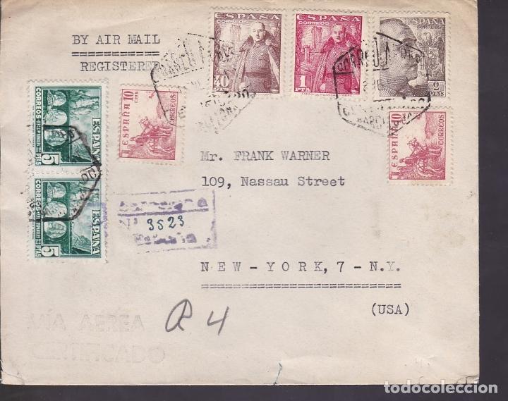 HP10-15- CARTA CERTIFICADO BARCELONA -USA 1951. ESPECTACULAR FRANQUEO MULTICOLOR (Sellos - España - Estado Español - De 1.936 a 1.949 - Cartas)
