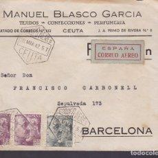 Sellos: F6-26- CARTA CORREO AÉREO CEUTA CONFECCIONES MANUEL BLASCO .1942. Lote 186371010