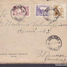 Sellos: F6-28- CARTA URGENTE OSUNA - MANRESA 1949. VÍCTIMAS DE GUERRA , AMBULANTES Y TRÁNSITOS DORSO. Lote 186371138