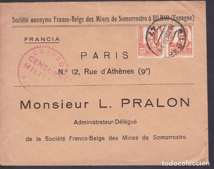 F6-28- CARTA MINAS DE SOMORROSTRO- BILBAO-PARIS 1938 (Sellos - España - Estado Español - De 1.936 a 1.949 - Cartas)