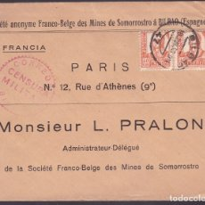 Sellos: F6-28- CARTA MINAS DE SOMORROSTRO- BILBAO-PARIS 1938. Lote 186371297