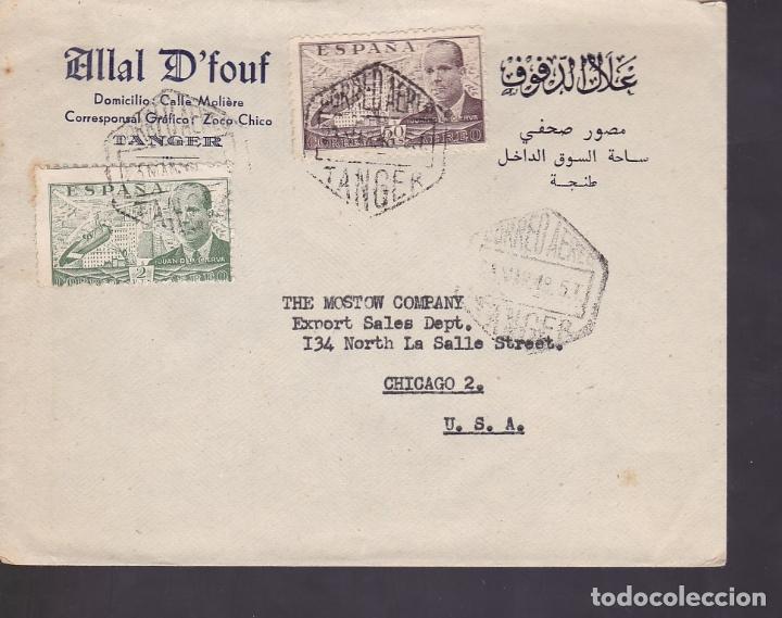 F6-28- CARTA TANGER- CHICAGO 1948 (Sellos - España - Estado Español - De 1.936 a 1.949 - Cartas)
