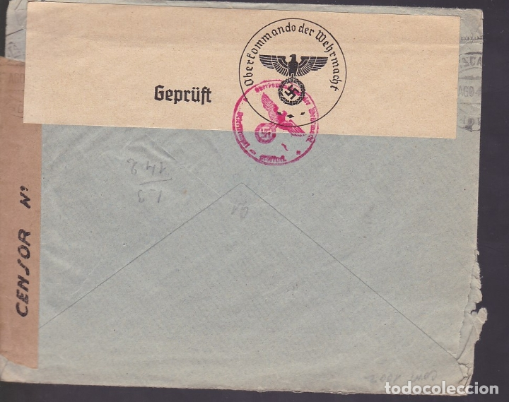 Sellos: F6-29- Carta MADRID-HAMBURGO 194?. FAJAS Censuras España y OKW Alemania - Foto 2 - 186371481