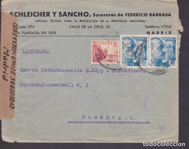 F6-29- CARTA MADRID-HAMBURGO 194?. FAJAS CENSURAS ESPAÑA Y OKW ALEMANIA (Sellos - España - Estado Español - De 1.936 a 1.949 - Cartas)