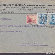 Sellos: F6-29- CARTA MADRID-HAMBURGO 194?. FAJAS CENSURAS ESPAÑA Y OKW ALEMANIA. Lote 186371481