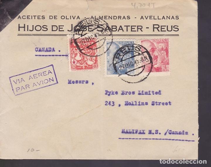 F6-31- CARTA HIJOS SABATER. REUS- CANADA. 1945. TUBERCULOSOS (Sellos - España - Estado Español - De 1.936 a 1.949 - Cartas)