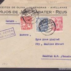 Sellos: F6-31- CARTA HIJOS SABATER. REUS- CANADA. 1945. TUBERCULOSOS. Lote 186371863