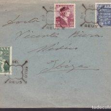 Sellos: F6-33- CARTA CON LA SERIE EDIFIL 1002/04. PRIMER DÍA REUS 1946. Lote 186371987