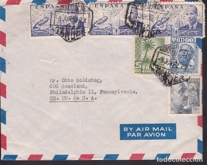 F6-33- CARTA TANGER-USA 1952. FRANQUEO MIXTO FRANCO, LA CIERVA Y TANGER (Sellos - España - Estado Español - De 1.936 a 1.949 - Cartas)