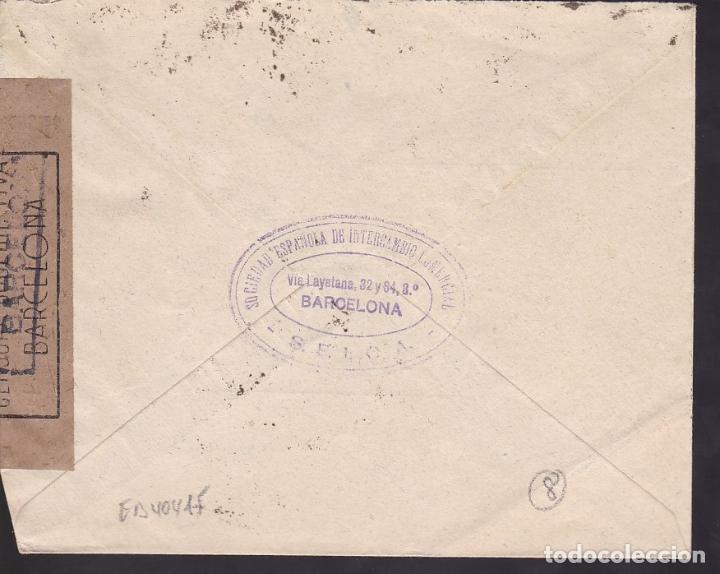 Sellos: HP10-16- Carta BARCELONA- SUIZA 1941. Franco Sánchez Toda 45 Cts. Faja Censura - Foto 2 - 186372060