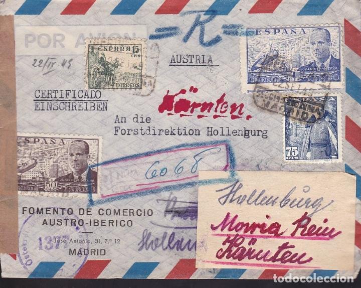 F6-34- CARTA MADRID - AUSTRIA 1949. VARIAS REEXPEDICIONES Y ETIQUETA Y CENSURA AUSTRIACA (Sellos - España - Estado Español - De 1.936 a 1.949 - Cartas)