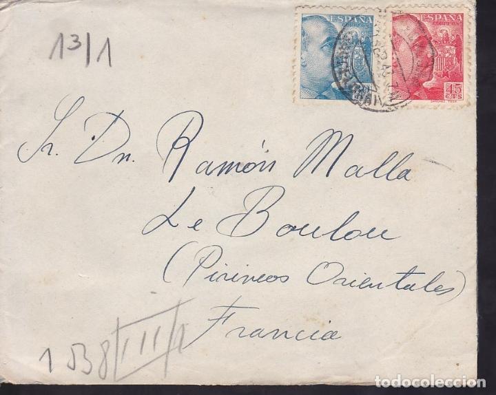 F6-35- CARTA BARCELONA - FRANCIA 1943. FAJA CENSURA ALEMANA. TEXTO BODA EN AMPURIAS (Sellos - España - Estado Español - De 1.936 a 1.949 - Cartas)