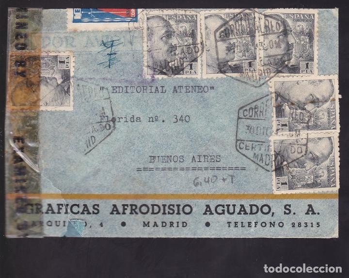F6-35- CERTIFICADO MADRID -BUENOS AIRES 1943 . TUBERCULOSOS. CENSURAS (Sellos - España - Estado Español - De 1.936 a 1.949 - Cartas)